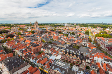 Aerial view of the Dutch historic city Delft