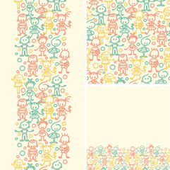 Vector doodle happy children seamless pattern background with