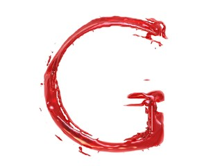 3d illustration of a red plastic letter G on white background