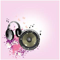 Kopfhörer mit lautsprecher und Hintergrund