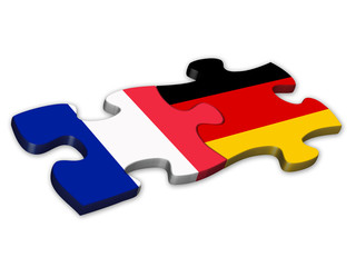 French & German Flags (France Germany language translation)