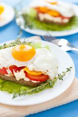 appetizing homemade fried eggs