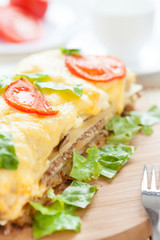 Traditional lasagna with vegetables and cheese