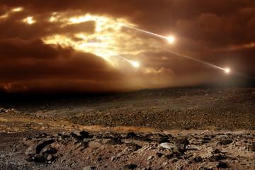 Printed roller blinds Deep brown Meteors to the sky