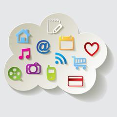 Cloud Computing Cloud-Computing Rechnen in der Wolke Icons bunt