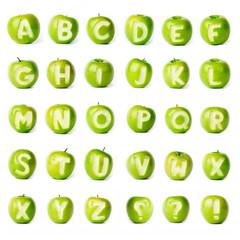 Fresh green apple alphabet.