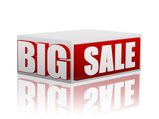 big sale in red white cube