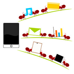 All in one  smartphone and red ants illustration
