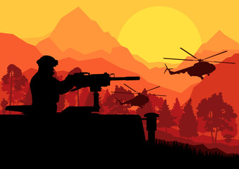 Fotorolgordijn Militair Army soldier with helicopters, guns and transportation in wild d