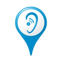 icône audition, logo, pictogramme, repère carte