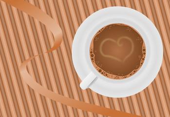 kawa w filiżance i serce
