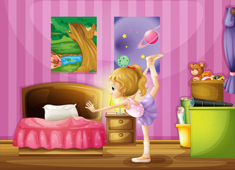 A young girl exercising in her room