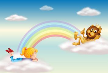 Door stickers Rainbow A girl and a king lion across the rainbow