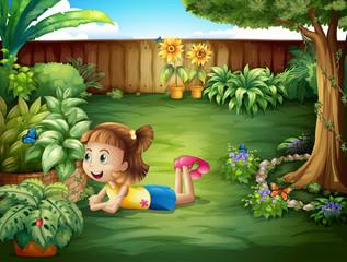 Keuken foto achterwand Vlinders A little girl watching a butterfly