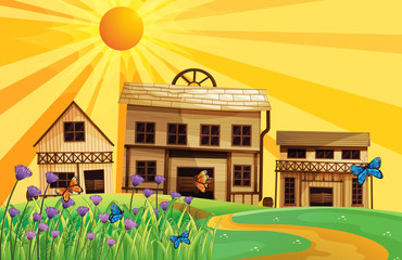 Garden Poster Wild West Three different house designs