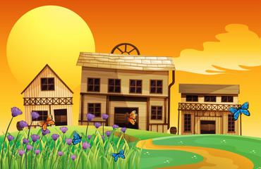 Aluminium Prints Wild West A view of the sunset and the three houses