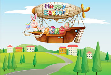 An airship with an easter greeting passing at the road