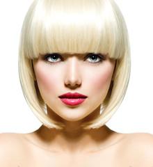Wall Mural - Fashion Stylish Beauty Portrait. Beautiful Girl's Face Close-up
