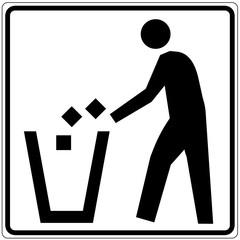 Papier Peint - Schild weiß - Abfalleimer 2
