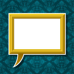 Golden picture frame speech bubble on background