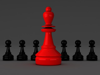 Red and black chess figures
