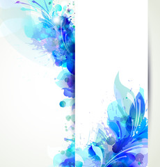 Fototapete - Abstract background with blue floral