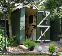 Garden Shed with Tools