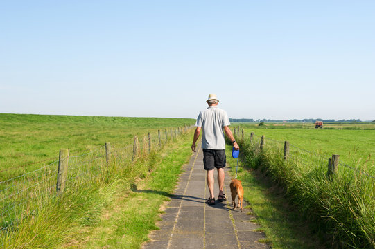 Man walking the dog in summer landscape