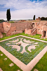 Fototapete - Domus Augustana gardens and ruins in palatine hill at Rome