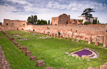Fototapete - Palatine Stadium ruins background Domus Augustana ruins in Palat