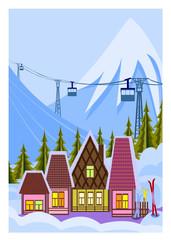 Illustration of small skiresort