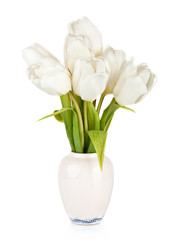 Bouquet of tulips in the vase isolated on white background