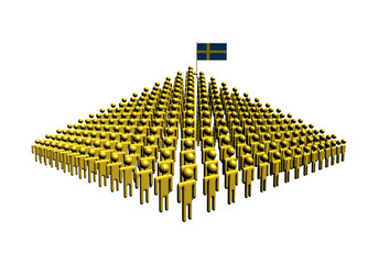 Pyramid of abstract people with Swedish flag illustration
