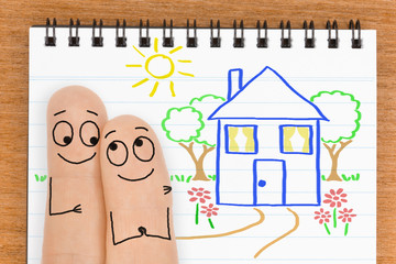 Happy  Finger Face Couple want to buy a New House