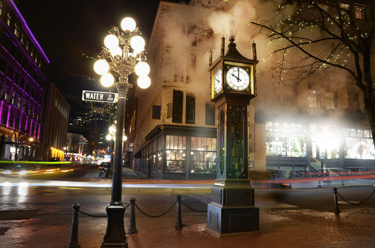 Vancouver steam clock in Gastown Sepia