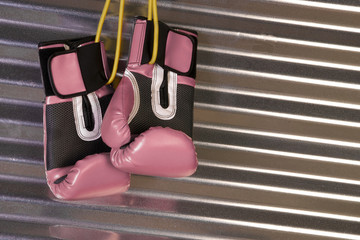 Pink Boxing Gloves Hanging on a Hook