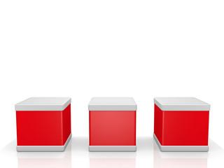 3 Würfel in rot - 3D