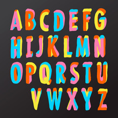 Alphabet design in colorful style, vector Eps10 illustration.