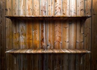 Empty wood shelf