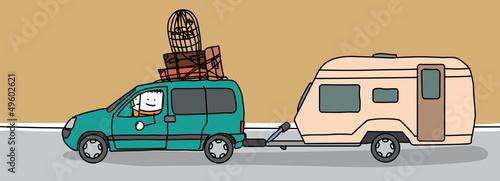 couple partant en vacances en voiture avec une caravane fichier vectoriel libre de droits sur. Black Bedroom Furniture Sets. Home Design Ideas
