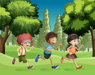 Children running at the park