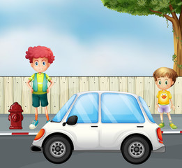 Poster Voitures enfants A boy and a child at the street with a car