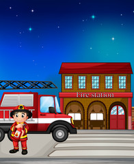 A fireman near the fire station
