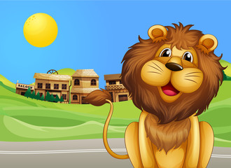 A lion across the village