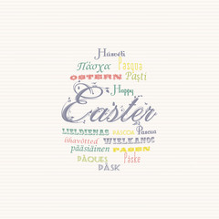 Easter typography multi language background
