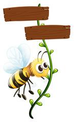 A bee near a blank signboard