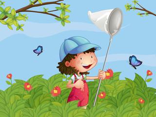 Keuken foto achterwand Vlinders A girl with a cap catching butterflies