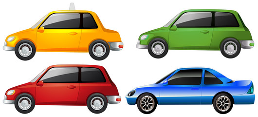 The yellow, green, red and blue car
