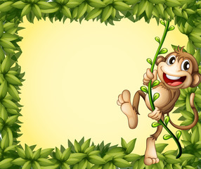 The green border with a monkey