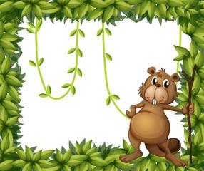 A beaver holding a stick on a leafy frame